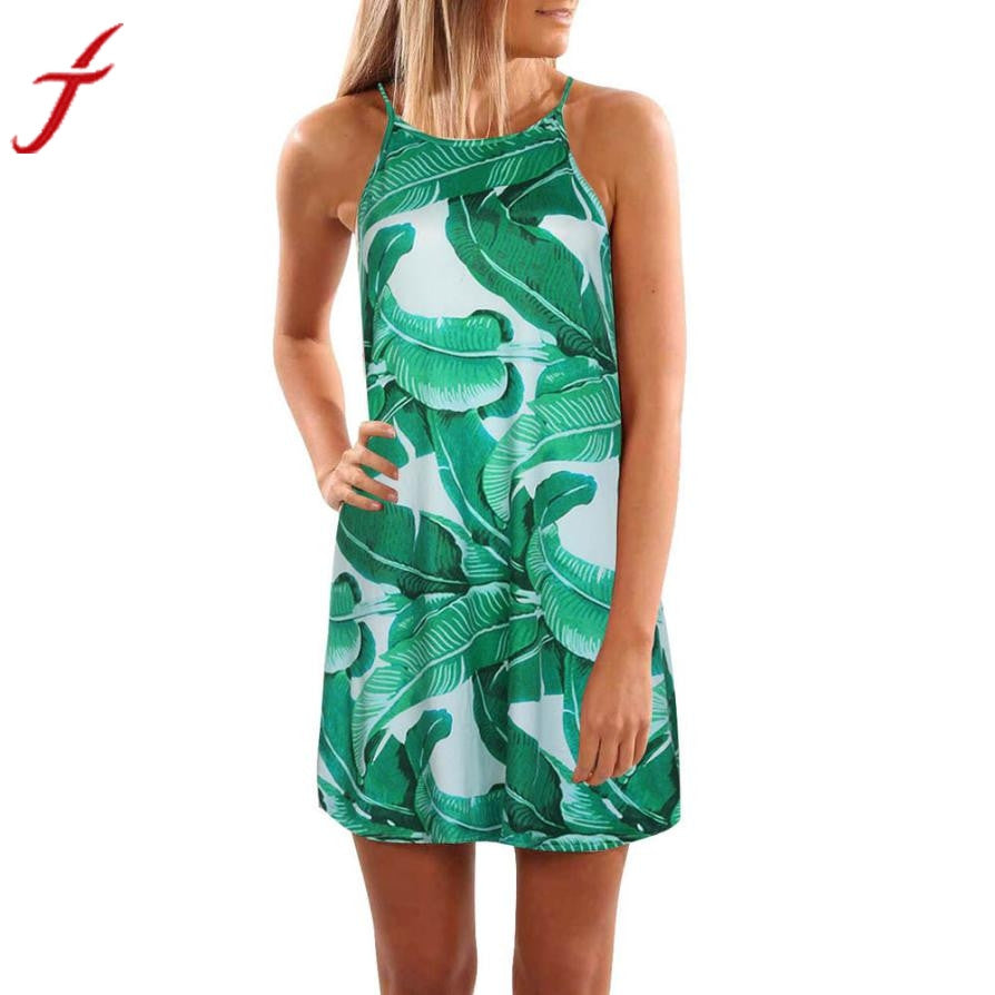 Palm Leaf Print Dress - Dalia's Online Shop