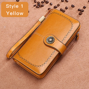 New Wallet Split Leather Female Zipper Purse For iPhone 7 - Dalia's Online Shop