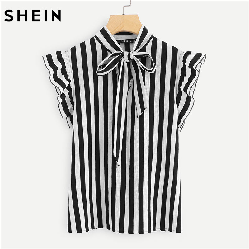 SHEIN Summer Top Elegant Striped Blouse - Dalia's Online Shop