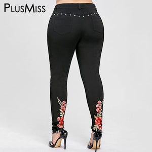 Floral Embroidery Rivet Pencil Sexy Women Pant XL-5XL - Dalia's Online Shop
