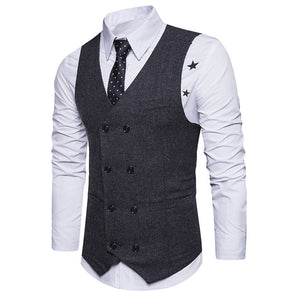 Men Formal Double Breasted Waistcoat Slim Fit Suit Jacket - Dalia's Online Shop