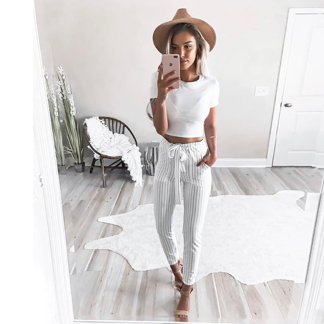 2018 Chiffon High Waist Striped Women Trousers - Dalia's Online Shop