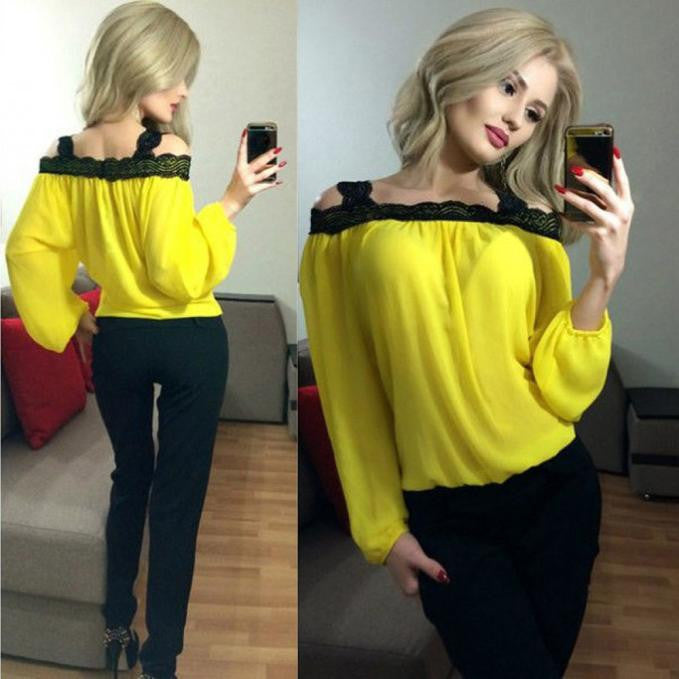 Women Sexy Off Shoulder Long Sleeve Chiffon Blouse - Dalia's Online Shop