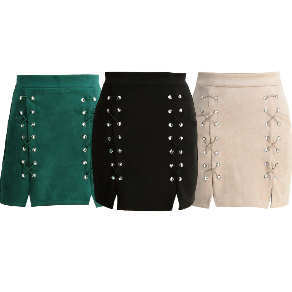 Women Lace Up Suede Leather Pencil Skirt - Dalia's Online Shop