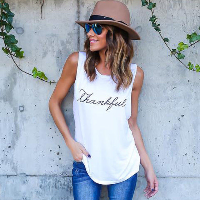 2018 Summer T-Shirt New Fashion Thankful Letter Print Tank S-3XL - Dalia's Online Shop