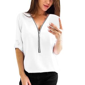 Women V Neck Zipper Loose Blouse - Dalia's Online Shop
