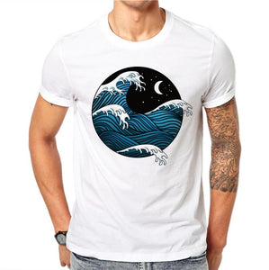 100% Cotton Cartoons Sea Waves 3D Print Men T-Shirt (S-3XL) - Dalia's Online Shop