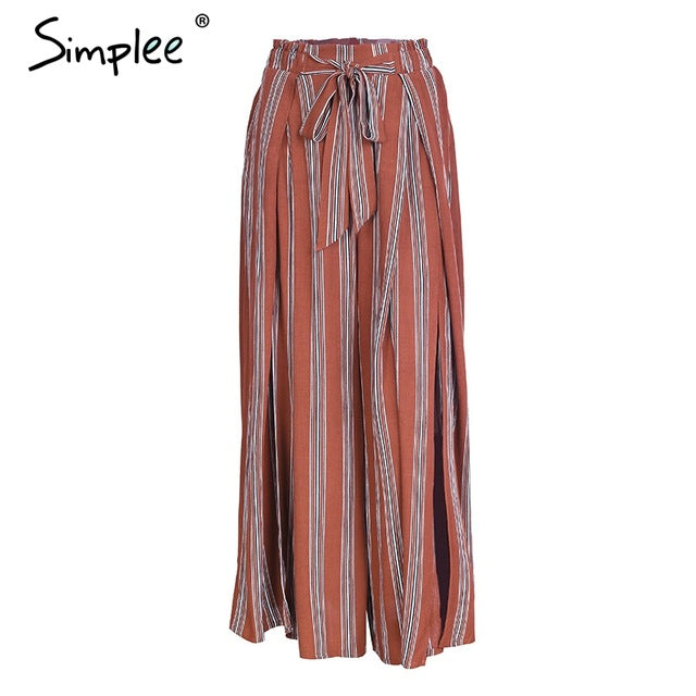 Simplee High Split Stripe Wide Leg Women Pants - Dalia's Online Shop