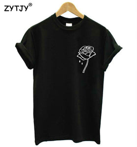 Rose Flower Pocket Print Women T-shirt Cotton Casual - awesometeeshirts.com