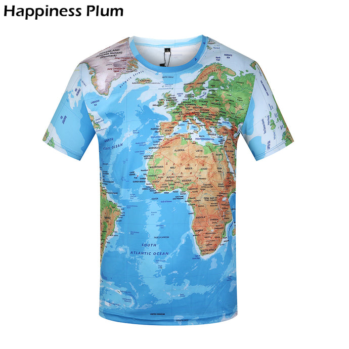 3D Men World Map T Shirt Short Sleeve - awesometeeshirts.com