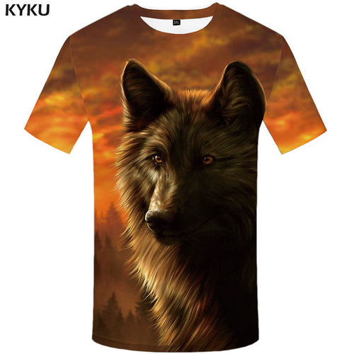 Wolf Lightning Cloud 3d T-Shirt  For Men - awesometeeshirts.com