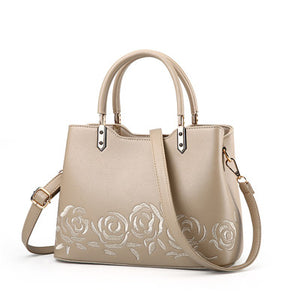 MEG Luxury Leather Embroidery Flower Handbag