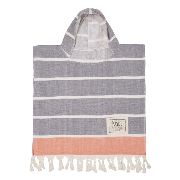 KIDS SHELLY PONCHO - NAVY / ORANGE