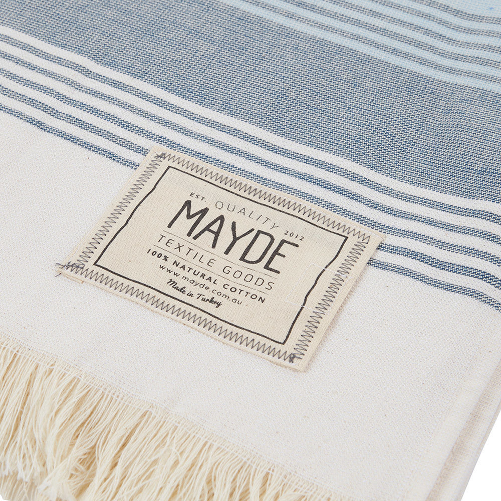 JERVIS TOWEL - WHITE & NAVY