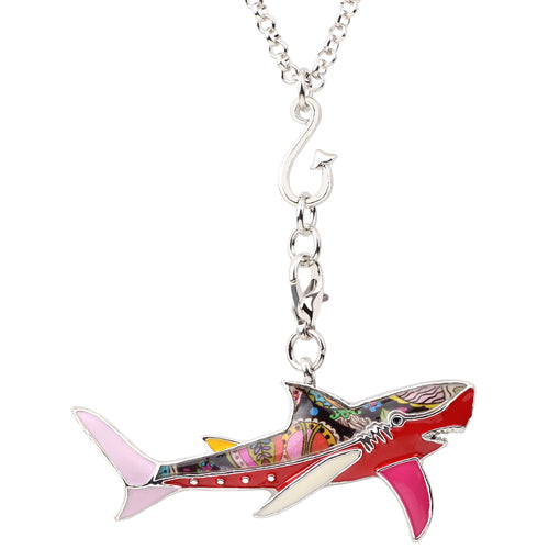 Statement maxi enamel metal fish shark necklace pendants chain statement maxi enamel metal fish shark necklace pendants chain fashion ocean animal jewelry for women girl aloadofball Gallery