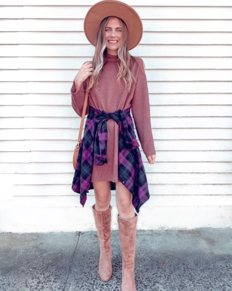 casual sweater dress with knee high boots