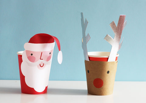 Santa + Reindeer Party Cups