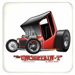 """The Uncertain-T"" Famous Hot Rod Design #01 on a Cork Backed Coaster"
