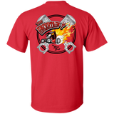 """The Uncertain-T"" Famous Hot Rod Tee Shirt design #13 front, #15 back on Red Tee"