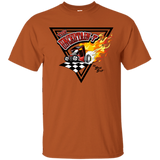 """The Uncertain-T"" Famous Hot Rod Tee Shirt design #14 on Texas Orange Tee"