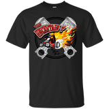 """The Uncertain-T"" Famous Hot Rod Tee Shirt design #15 on Black Tee"