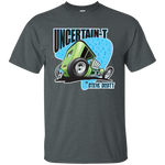 """The Uncertain-T"" Famous Hot Rod Tee Shirt design #7 on Dark Heather Tee"