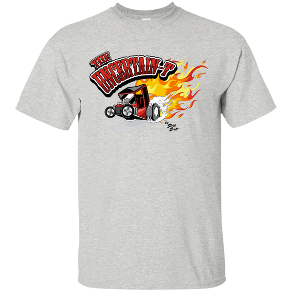 """The Uncertain-T"" Famous Hot Rod Tee Shirt design #12 on Ash Tee"