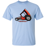 """The Uncertain-T"" Famous Hot Rod Tee Shirt design #3 on Light Blue Tee"
