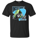 """The Uncertain-T"" Famous Hot Rod Tee Shirt design #7 on Black Tee"