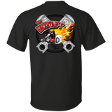 """The Uncertain-T"" Famous Hot Rod Tee Shirt design #13 front, #15 back on Black Tee"