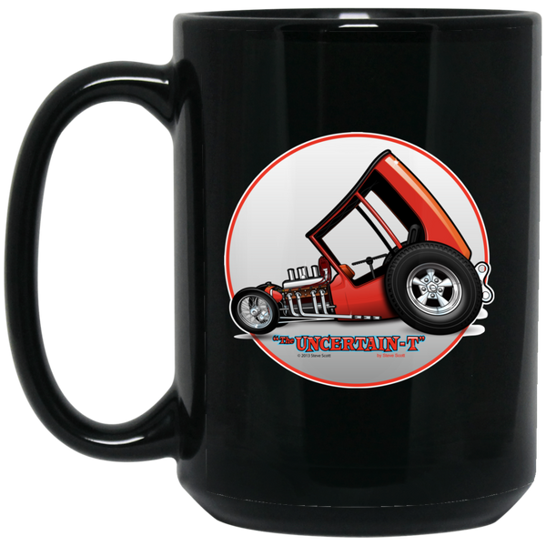 """The Uncertain-T"" Famous Hot Rod Design #04 on 15 oz. Black Mug"