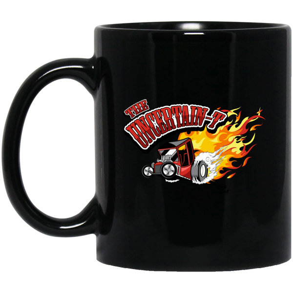 """The Uncertain-T"" Famous Hot Rod Design #11 on 11 oz. Black Mug"