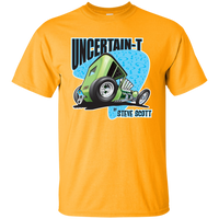 """The Uncertain-T"" Famous Hot Rod Tee Shirt design #7 on Gold Tee"