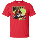 """The Uncertain-T"" Famous Hot Rod Tee Shirt design #8 on Red Tee"