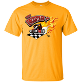 """The Uncertain-T"" Famous Hot Rod Tee Shirt design #13 on Gold Tee"