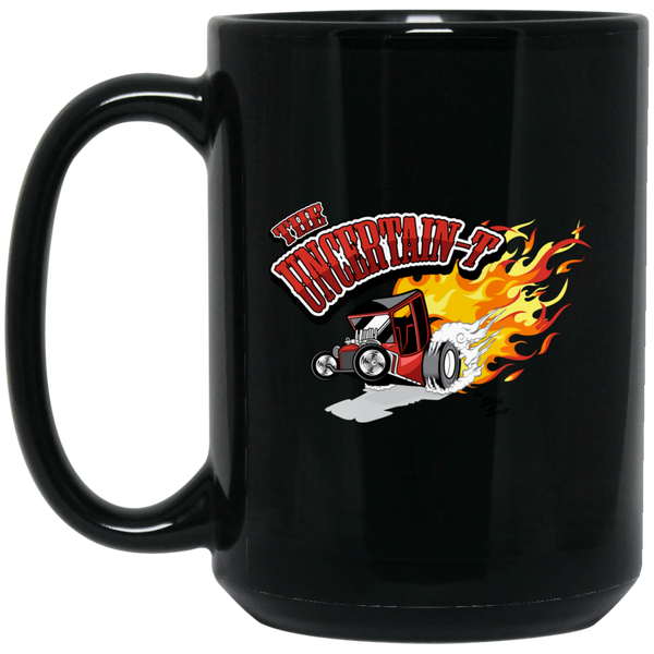 """The Uncertain-T"" Famous Hot Rod Design #12 on 15 oz. Black Mug"