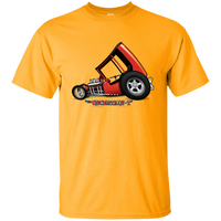 """The Uncertain-T"" Famous Hot Rod Tee Shirt design #3 on Gold Tee"