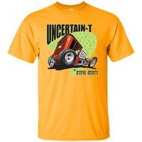 """The Uncertain-T"" Famous Hot Rod Tee Shirt design #8 on Gold Tee"