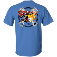 """The Uncertain-T"" Famous Hot Rod Tee Shirt design #13 front, #15 back on Iris Tee"