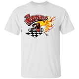 """The Uncertain-T"" Famous Hot Rod Tee Shirt design #13 on White Tee"