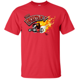 """The Uncertain-T"" Famous Hot Rod Tee Shirt design #11 on Red Tee"