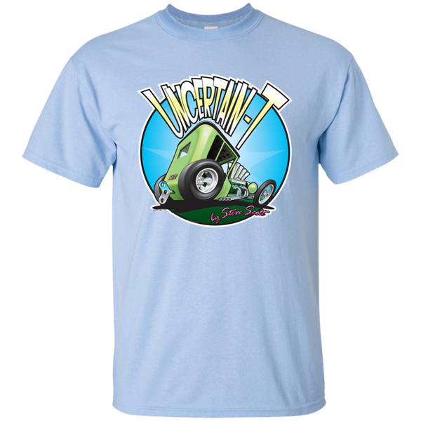 """The Uncertain-T"" Famous Hot Rod Tee Shirt design #5 on Light Blue Tee"