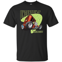 """The Uncertain-T"" Famous Hot Rod Tee Shirt design #8 on Black Tee"