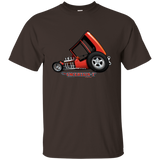 """The Uncertain-T"" Famous Hot Rod Tee Shirt design #3 on Dark Chocolate Tee"