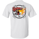 """The Uncertain-T"" Famous Hot Rod Tee Shirt design #13 front, #15 back on White Tee"