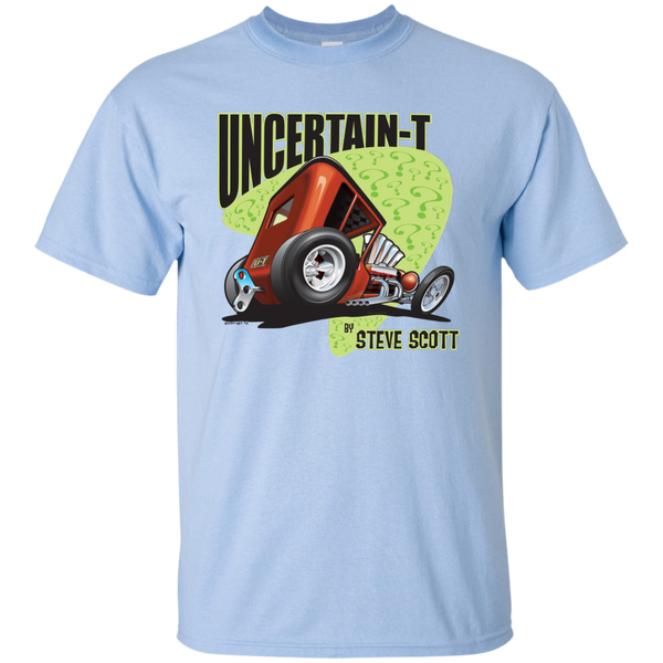 """The Uncertain-T"" Famous Hot Rod Tee Shirt design #8 on Light Blue Tee"