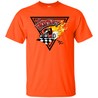 """The Uncertain-T"" Famous Hot Rod Tee Shirt design #14 on Orange Tee"