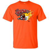 """The Uncertain-T"" Famous Hot Rod Tee Shirt design #11 on Orange Tee"