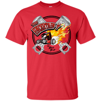 """The Uncertain-T"" Famous Hot Rod Tee Shirt design #15 on Red Tee"