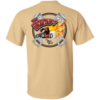 """The Uncertain-T"" Famous Hot Rod Tee Shirt design #13 front, #15 back on Vegas Gold Tee"